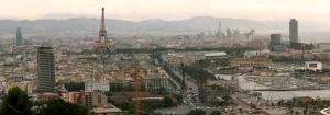 Panorama de Barcelona con la torre Eiffel insertada